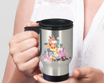 Travel Mug Pokemon EEVEE Eeveelutions! Flareon Leafeon Glaceon Sylveon Umbreon Jolteon Vaporeon Espeon on Travel Coffee Mug With Lid