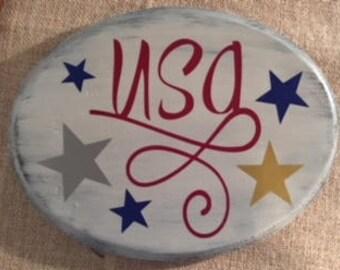 Patriotic 'USA' wood sign