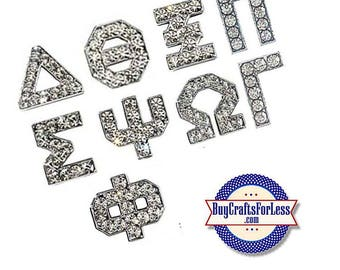 GREEK Rhinestone Silver 8mm Slide LETTERS for bracelets, chokers, collars, key rings, slider jewelry +FREE Shipping & Discounts*
