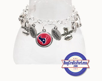 HOUSTON Football CHARM Bracelet, Silver Plated  **FREE U.S. SHiPPiNG**