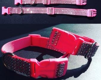 Pink Diamante Dog Collars