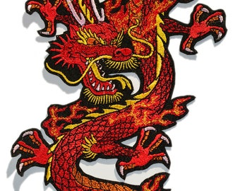 Big Embroidered Dragon Patch, Dragon Patches,  Iron On Patch, Embroidered Patches, Chinese Dragon, Various sizes and colors