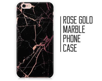 Rose Gold Marble Phone Case for iPhone X 8 Plus 7 6 6s 5 5s 5c SE + Samsung S6 S7 S8+ - Black and Rose Gold