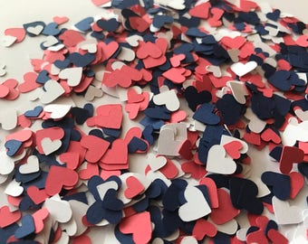 Mini Navy, Coral, and White Heart Confetti - Navy and Coral Wedding Decorations - Navy and Pink Wedding Decor - Heart Wedding Decor - Heart