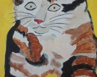 OIL on canvas cat quote DROUOT oil frame on canvas