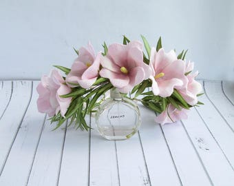 Floral Crown Pink Hollyhock Eucalyptus- OOAK - Handmade Flowers Headband- Headpiece Bridal Flower Crown Wedding Pink Flower Hair Accessories