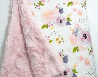 Baby Blanket - Minky Baby Blanket - Pink Baby Blanket - Watercolor Floral - Coral Baby Blanket - Floral Baby Blanket - Lavendar Baby Blanket