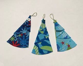 Tree Unique super cute Multi-Coloured Origami Folded Fabric Christmas Tree Ornament - unbreakable - PRICE for SET of 3 ORNAMENTS