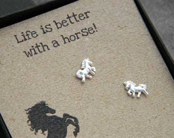 Life is better with a horse earrings - horse sterling silver studs - sterling silver earrings - horse earrings