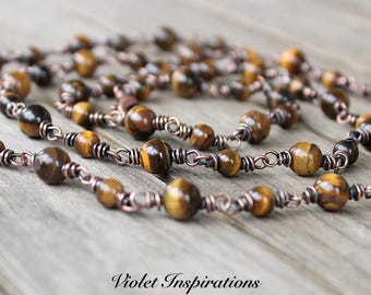 Tiger Eye Necklace / Wire Wrapped Jewelry / Copper Necklace / Long Beaded Necklace / Layering Necklace / Copper Jewelry
