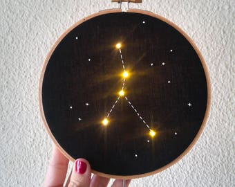 Pre order Cancer Zodiac Star Constellation Embroidery Hoop Art with LED