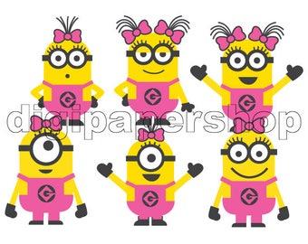 Minions Pink Girls digital scrapbook elements png, cliparts, centerpieces, images