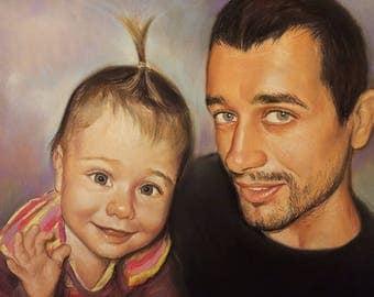 Family portrait, custom portrait, for dad, commission portrait