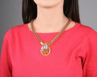 Gold necklace Gold vintage necklace Rhinestone necklace Gold chain necklace Chunky chain necklace 1990 necklace Vintage wedding necklace