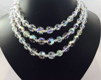 1950's Triple Strand Crystal Necklace