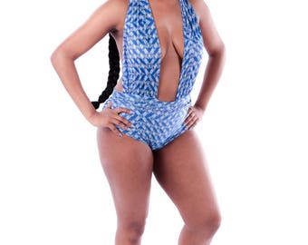 Hand made swimwear wax print one piece