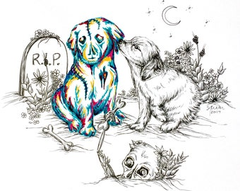 Art Print from Original Pen & Ink Drawing - Puppy Love