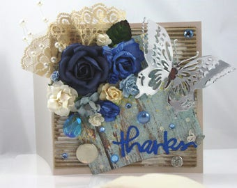 Beautiful Handmade Floral Greeting Card with Blue and White Flowers and Silver Butterfly, Embellished, Thanks, Thank you, Appreciation