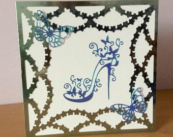 Handmade birthday card, handmade greetings card, female birthday card, shoes, fashion, butterflies