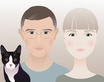 Custom digital portrait of two persons with pet