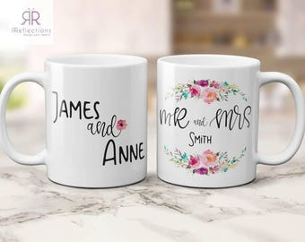 Couples mugs | Personalised wedding gift | mr and mrs mugs | his and hers mugs | engagement | gift for bride | | coffee mug | personalized