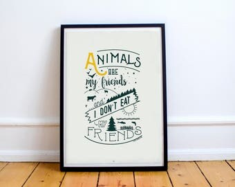 Vegan Poster - Vegan Art - Vegan gift - Vegan Home Decor - Go vegan | Animal Rights Activist Print