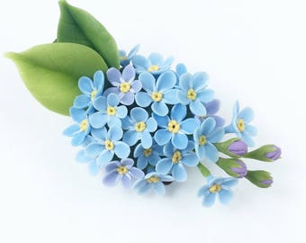 Forgetmenot hair clip child hair clip blue flower head piece flower headpiece, wedding hair clip girl hair clips, hairpece floral hair piece