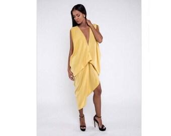 Elegant yellow dress, yellow dress, yellow drapel dress, long dress, sleeveless dress, party dress,  silky dress,