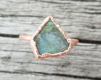 Labradorite Ring Copper Electroformed Ring Size 9