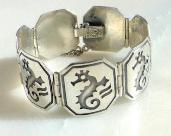 Pedro Castillo Sterling Silver Seahorse Bracelet, Taxco, Mexico