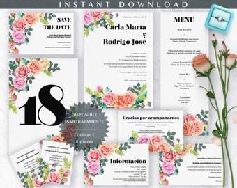 Invitación de Boda. Spanish Wedding Invitation. Editable, diseño floral acuarela. Incluye complementos, FULL Wedding Suite