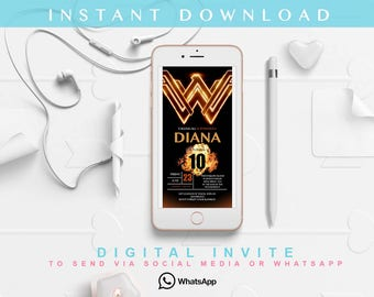 Wonder Woman Invitation, Wonder Woman Birthday, Wonder woman Party, wonder woman Printable wonder woman Instant Download Invitation whatsapp