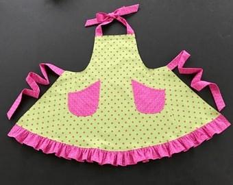 Girl's Polkadot Apron, Girl's Size 7/8 Apron, Green Apron with Pink Polkadots, Bib Apron, Girl's Apron with Ruffle, Ruffled Girl's Apron