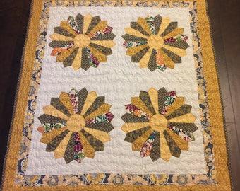 Handmade Dresden Plate Throw Quilt; Handmade Yellow, Gray and White Quilt