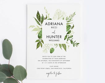 Nature Wedding Invitation Suite, Printable Botanical Wedding Invitation, Garden Woodsy Wedding Invitation, Greenery Wedding Invitation Set