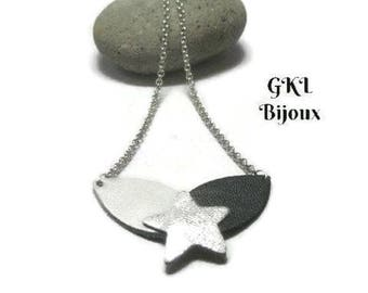 Necklace leather, grey and black petals, Silver Star chain jaseron, closes with a snap