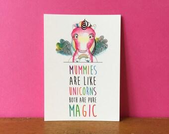 Mummies Like Unicorns A6 card