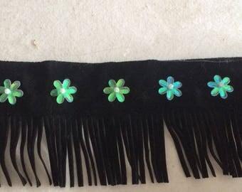 Fringe color 5.5 cm black velvety material