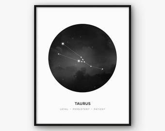 Taurus Print, Taurus Constellation, Taurus Zodiac Sign Poster, Taurus Wall Art, Taurus Gift, Zodiac Constellation, Astrology Black and White