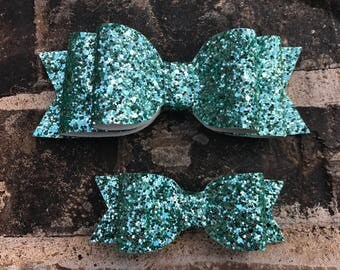 Mint Glitter faux leather bow