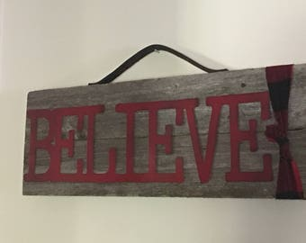 Believe Sign, Christmas Sign, Rustic Holiday Sign, Farmhouse Christmas Sign, Christmas Decor, Holiday Decor, Signs