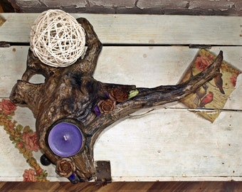 Wooden  Candlestick.Home Decor.Unique,Original Art.