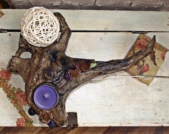 Art Wooden  Candlestick.Home Dekor.Unique