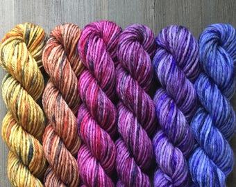 Hand Dyed Yarn, Hand Dyed Sport Yarn Minis, 4ply Sport Yarn, 75/25 Superwash Merino Nylon Yarn, Sunset Mini Set on Trusty Sport Yarn