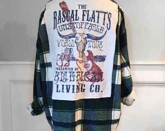 Rascal  Flatts Flannel Tee Rascal Flatts t shirt vintage men's small blue and green flannel shirt soft brushed cotton