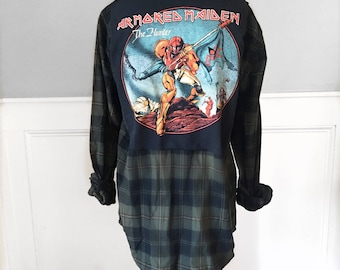 Iron Maiden Flannel T vintage Iron Maiden T Shirt New olive and black unisex medium flannel shirt brushed cotton