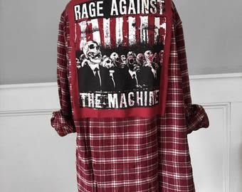 Rage Against the Machine Flannel Tee red and ivory plaid soft brushed cotton flannel shirt.  Unisex Men's large