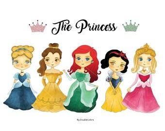 Princess clipart, png file.