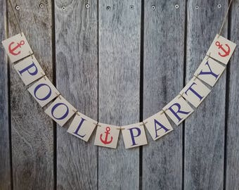 Pool party decorations, pool party banner, custom pool party sign, pool party ideas, birthday party decorations, birthday pool party