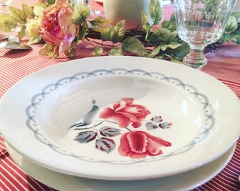 Flat, hollow 18 plates and Sarreguemines Digoin dessert service. 1940's tableware. Model CANNES. Old dishes